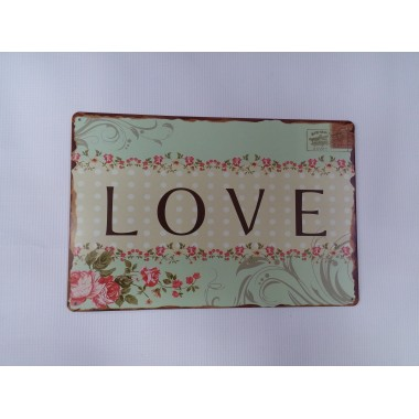 Placa de Metal Decorativa - LOVE