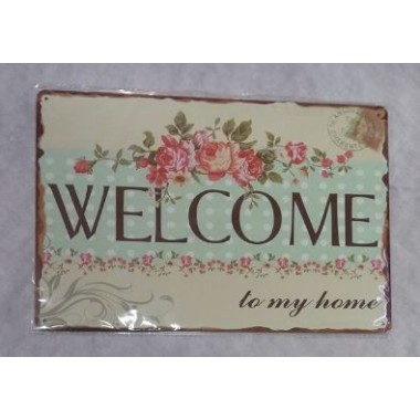 Placa de Metal Decorativa - WELCOME