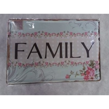 Placa de Metal Decorativa - FAMILY