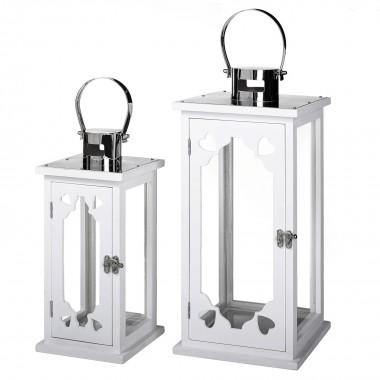 Conjunto de 2 Lanternas Quadradas Preto / Branco