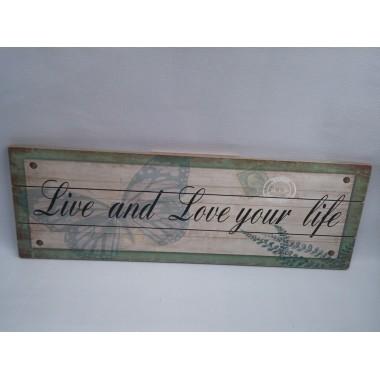 Quadro / Placa de Madeira Decorativa Family - 20 x 60 cm