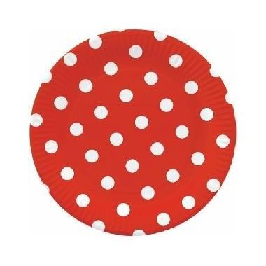 Pratos vermelhos com bolinhas - 23 cm