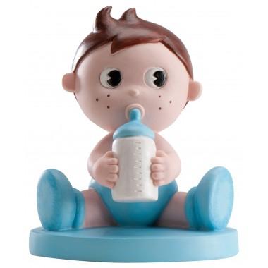 Figura de menino em pastel c/ biberão - Batizado