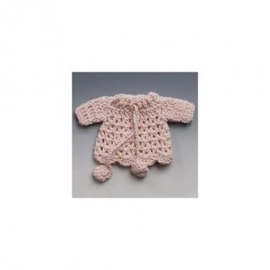 Casaco rosa em crochet - Decoração de Brindes
