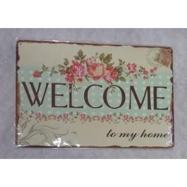 Placa de Metal Decorativa - WELCOME