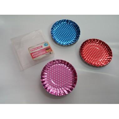 Embalagem de 12 pratos - Brilhantes às bolinhas