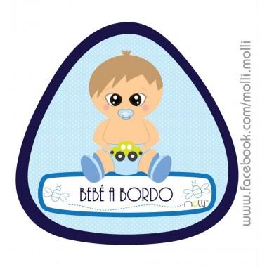 "Vinil Autocolante Molli ""Bebé a bordo"" - Azul / Rosa"