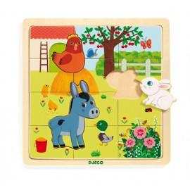 Puzzle de Madeira - Animais da Quinta - Djeco