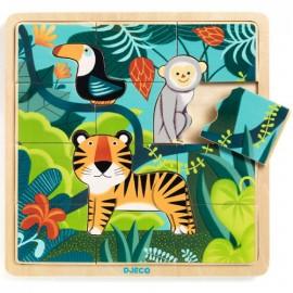 Puzzle de Madeira - Animais da Selva- Djeco