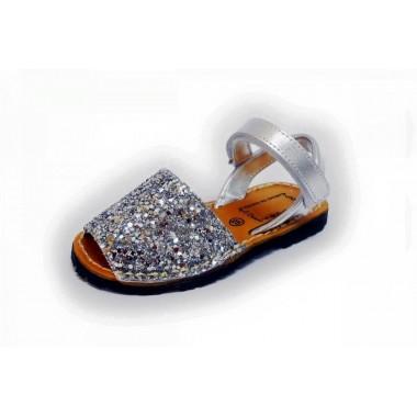 Menorquinas Criança - Glitter Prata