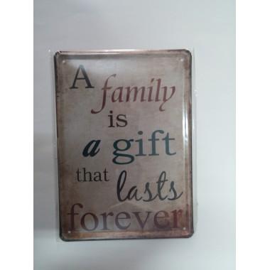 Placa de Metal Decorativa - 21x15 - A Family.....