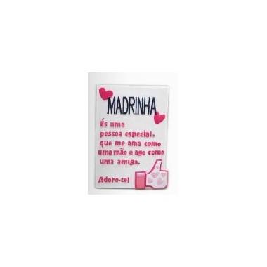 """Placa pequena com dedicatória """"Madrinha"""""""