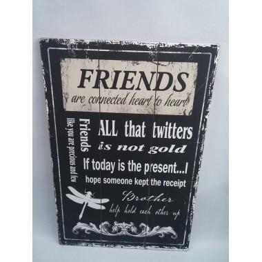 Quadro / Placa de Madeira Decorativa Friends - 40 x 60 cm
