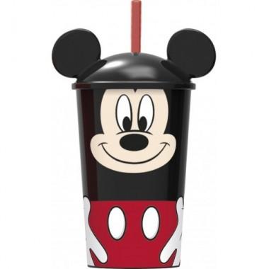 Copo 3D com palha Mickey