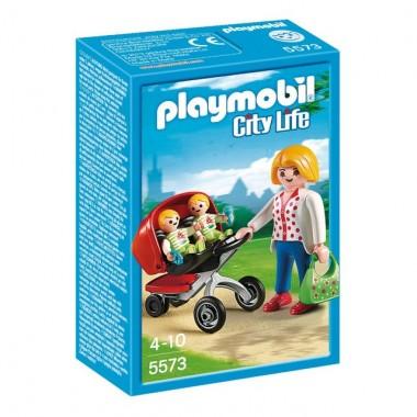 Playmobil - Mãe com Carrinho de Gémeos