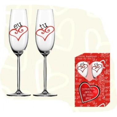 Copos de champanhe Eu e Tu - Namorados