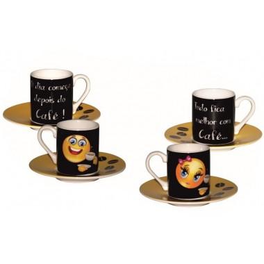 Conjunto de café Smile / Emoji com Mensagem