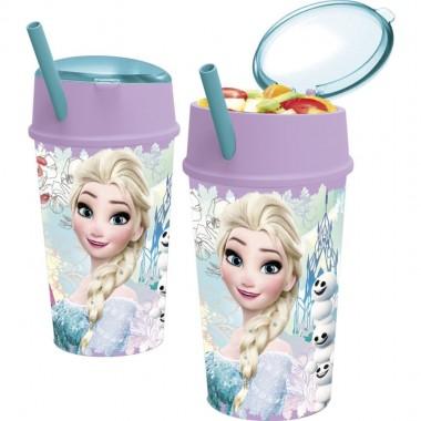 Copo com palhinha e dispensador Frozen