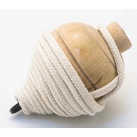 Pião em madeira c/ cordel - Cor natural