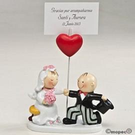 Porta-Foto ou cartão Noivos c/ coração