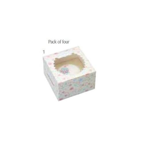 Embalagem com 4 caixas individuais para cupcakes