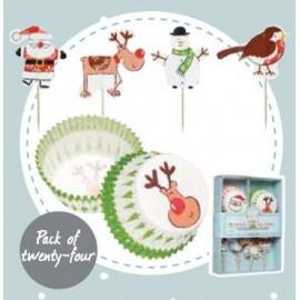 Embalagem de 48 decorações para Cupcake - Natal