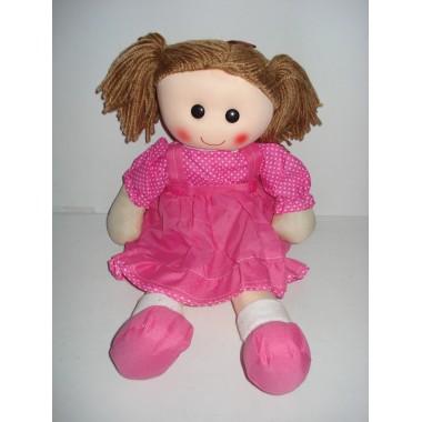 Boneca de trapos vestido rosa