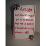 """Placa c/ dedicatória """"Amiga"""""""
