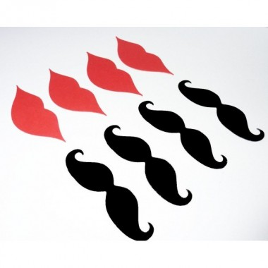 Embalagem de 100 Bigodes/Lábios - Cartão Photocall