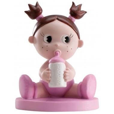 Figura de menina em pastel c/ biberão - Batizado