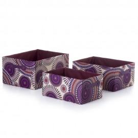 Conjunto 3 cestos rectangulares -  Cartão/Tela