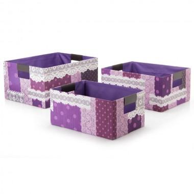 Conjunto 3 caixas rectangulares -  Cartão/Tela